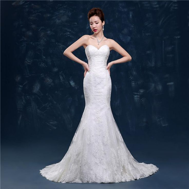Sexy Mermaid Wedding Dresses Sweetheart Neck Strapless Lace Wedding Gowns Back Zipper Unique Wedding Dresses Floor Length 100 Designer Gown Different Wedding Dresses From Crystal__lafino, $137.96| Dhgate.Com