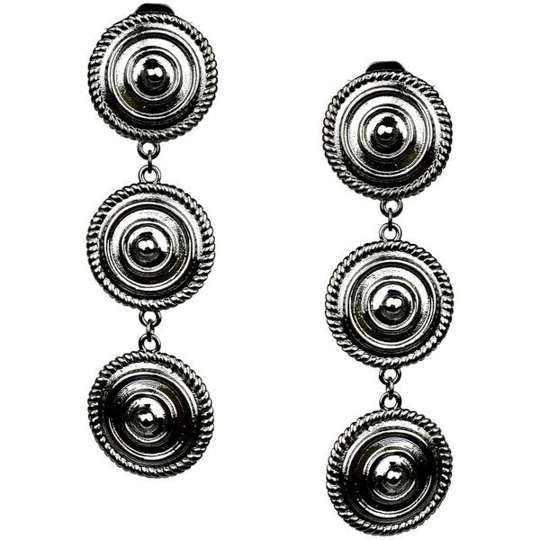 Minerva black shields clip earrings (79.075 HUF) ❤ liked on Polyvore featuring jewelry, earrings, clip on earrings, lightweight earrings, clip earrings, black rhodium earrings and black rhodium jewelry