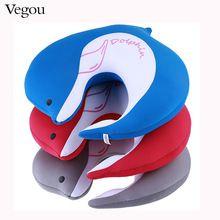 Dolphin Shape Neck Pillow Microbeads U Shape Airplane Travel Pillows Kissen Foam Ball Body Orthopedic Pillow(China)