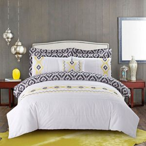 7-Piece Vieno Duvet Cover Set in White, Yellow and Black