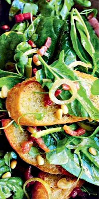 Spinach, Bacon, and Pine Nut Salad - a Jamie Oliver creation