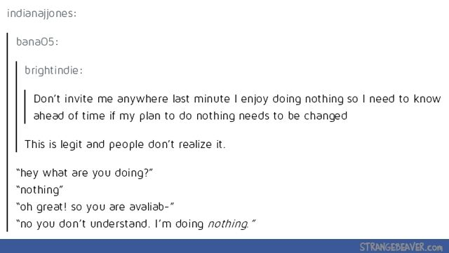 Doing nothing is one of my favorite pastimes - Funny tumblr post