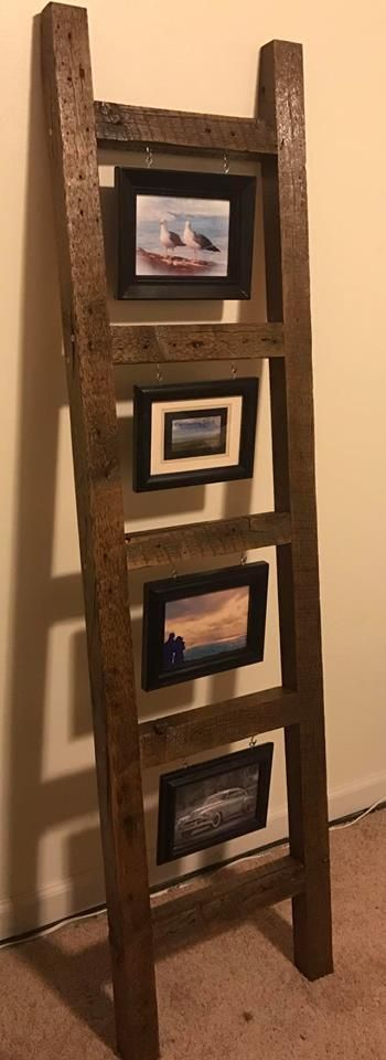 Beautiful handcrafted barn wood ladder picture frame. Pictures are some I took being used for display purposes.