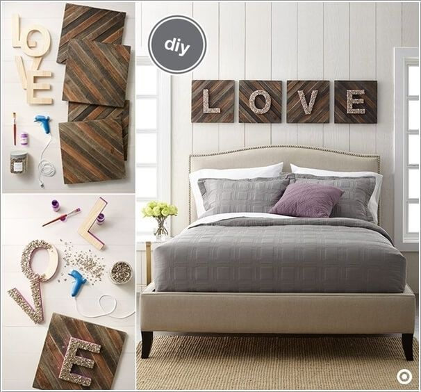 create a cool typography wall with glittered wood
