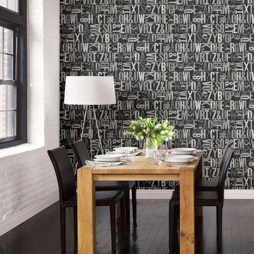 Would love to do this in my home office (if I had a blank wall!): Letterpress Typography Wallpaper on Fab.
