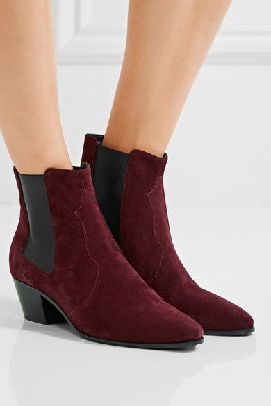 Saint Laurent - Rock Suede Chelsea Boots - Burgundy - IT