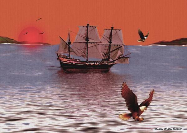 "SmudgeArt's Digital Art Creation ""Sunset At Eagle's Nest."""