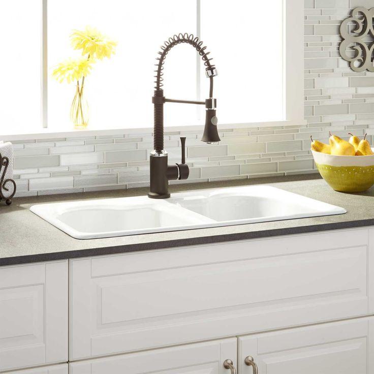 "32"" Twenlow Double-Bowl Cast Iron Drop-In Kitchen Sink - 8"" Widespread"