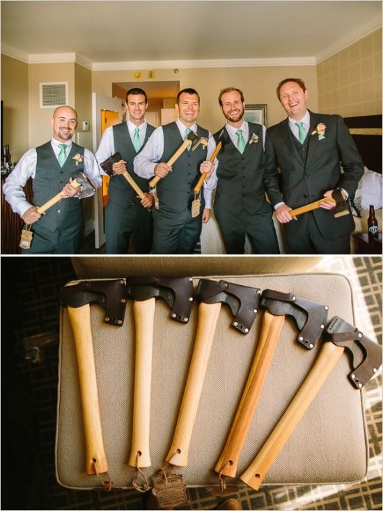 hatchet groomsmen gift is always a good idea  http://www.weddingchicks.com/2014/01/23/paradise-found-wedding/