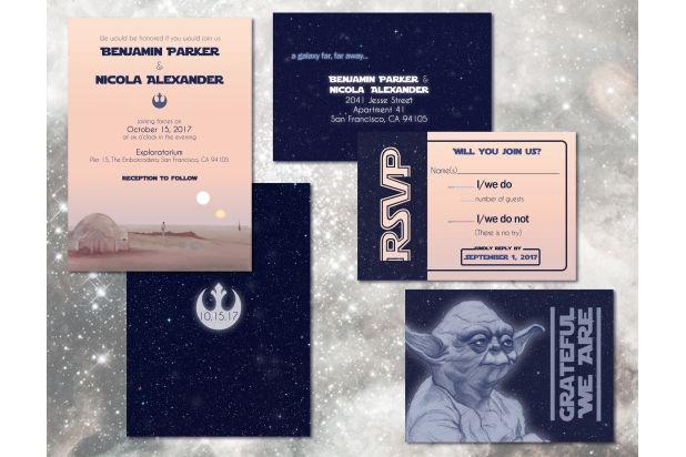 Star Wars Wedding Invitation Set Custom Digital Invitations Geeky Weddings Awkward Affections Star Wars Invitations Star Wars Wedding Theme Star Wars Birthday Invitation