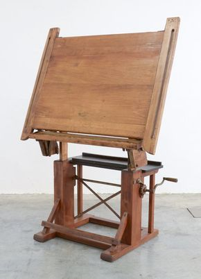 Industrial drafting table, marked Kahn Frères Bruxelles. Sold by vintage design point.
