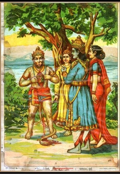 Hanuman has Rama and Sita in his heart