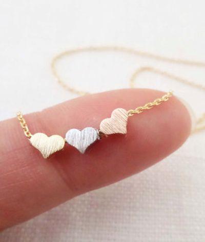 tiny three hearts necklace