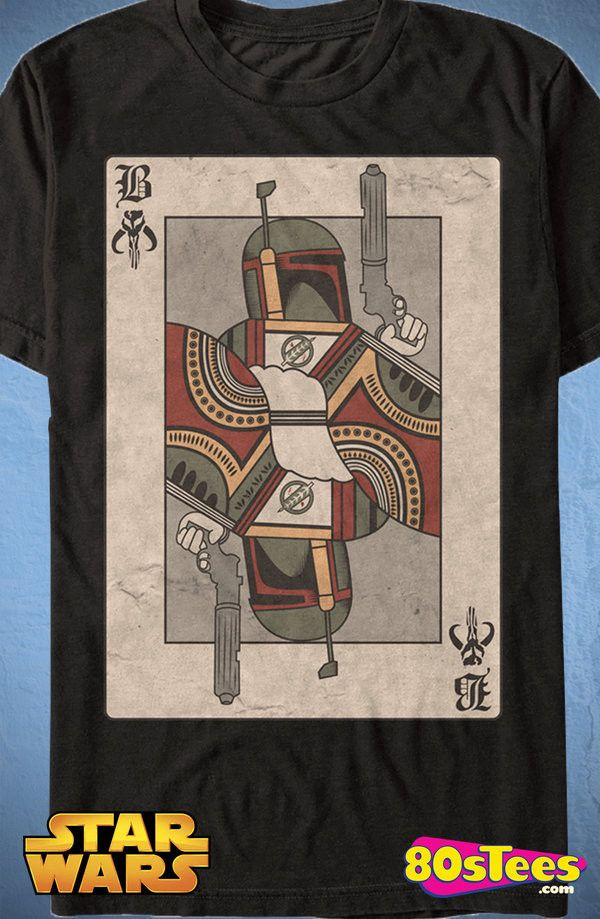 Boba Fett Playing Card T-Shirt: Star Wars Mens T-Shirt Star Wars Geeks: This design is artfully illustrated like a playing card and is a must have men's fashion.