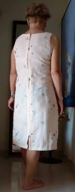 Back slit, zipper on this dress. The fabric has delicate embroidery all over. Since there was 5.5 m of cloth, and it is thin, used the same cloth for lining...