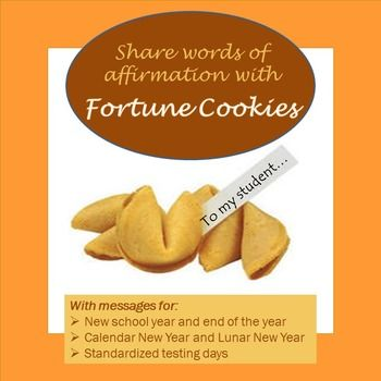 "Kids love these fortune cookie treats from their teacher.  Includes a simple recipe, plus sheets of ""fortunes"" to print and cut apart for:  Lunar (Chinese) New Year, calendar New Year, beginning and end of school year, and encouraging messages for standardized test days."
