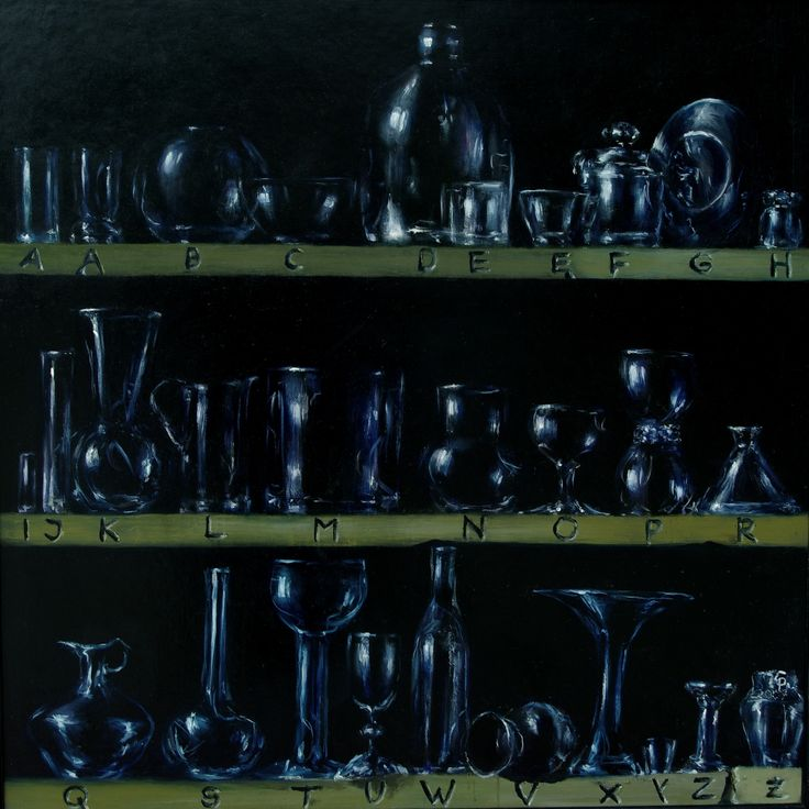 Malarstwo - Kody - Alfabet szkieł, olej na płycie, malowany z pamięci / My painting - Codes - Glass alphabet, oil on board, painted from memory, imagination / 90x90 cm, 2005-7. http://pawgalmal.blogspot.com