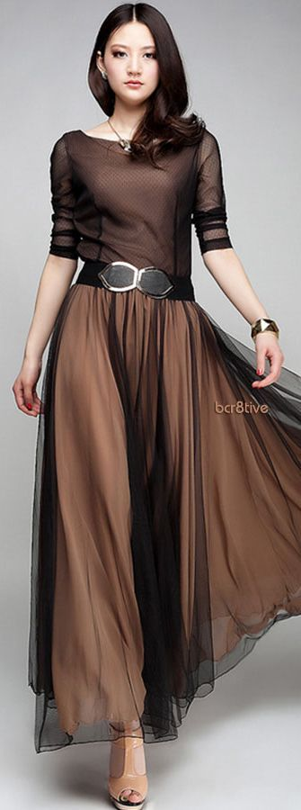 Vintage Chiffon Dress in Chocolate