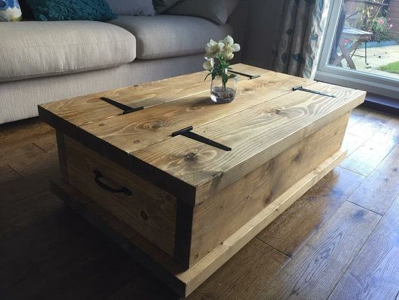 Rustic Chunky coffee table storage chest Hand by NewForestRustics
