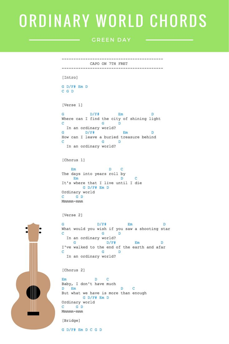 Ordinary World Chords - Green Day Guitar & Ukulele Chords. View the full Ordinary World Video lesson in the link.