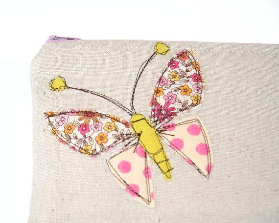 SassyStitchesbyLori  butterfly applique zipper pouch in polka by SassyStitchesbyLori, $24.00