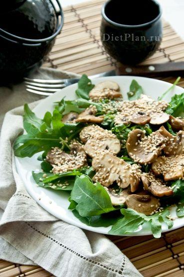 Салат с шампиньонами по-тайски   Диетические низкокалорийные рецепты - блюда правильного питания на Dietplan.ru