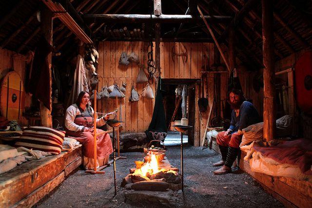 Viking house interior. aemenne:  l'Anse aux Meadows, Newfoundland