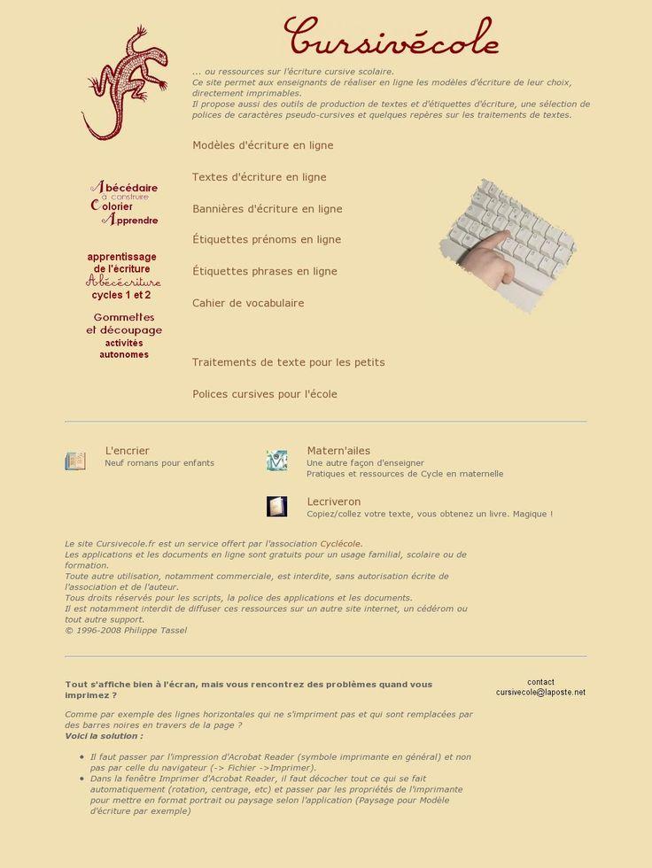 CURSIVÉCOLE - The website 'http://cursivecole.fr/index.php' courtesy of @Pinstamatic (http://pinstamatic.com)