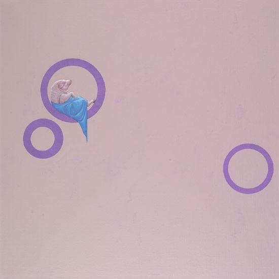 Paarse cirkels / Purple circles - 100 x 100 cm - acrylverf op doek / acrylic on canvas -   2010 - € 1.800,-