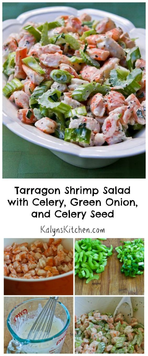 I LOVE growing French Tarragon in my herb garden, and one delicious way to use it is this Tarragon Shrimp Salad with Celery, Green Onion, and Celery Seed. And this tasty salad is low-carb, gluten-free, and South Beach Diet friendly, and with the right mayo it cal also be Paleo or Whole 30. [found on KalynsKitchen.com]