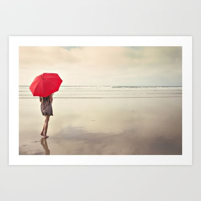 The Red Umbrella Art Print by Kim Bajorek - $19.00