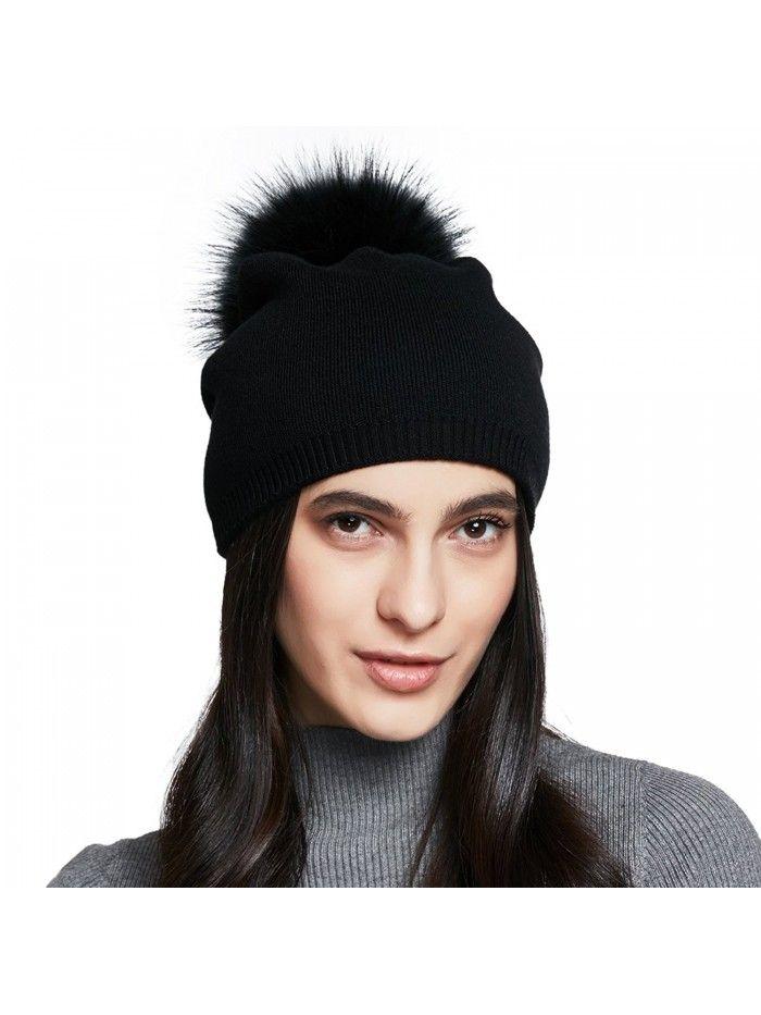 1820fad777797 Women s Winter Cotton Knitted Beanie Cap With Pom Pom - Black - C3185GZD7UL  - Hats   Caps