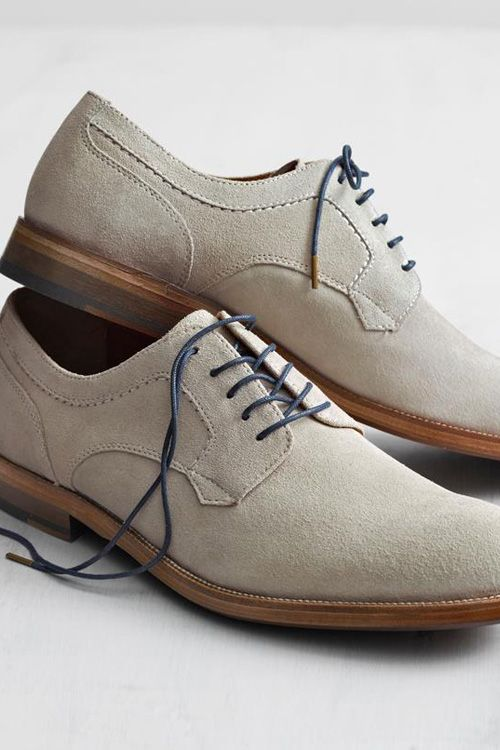 White or taupe bucks are the perfect summer shoe. They go with everything from a light linen or seersucker suit to khakis and jeans.