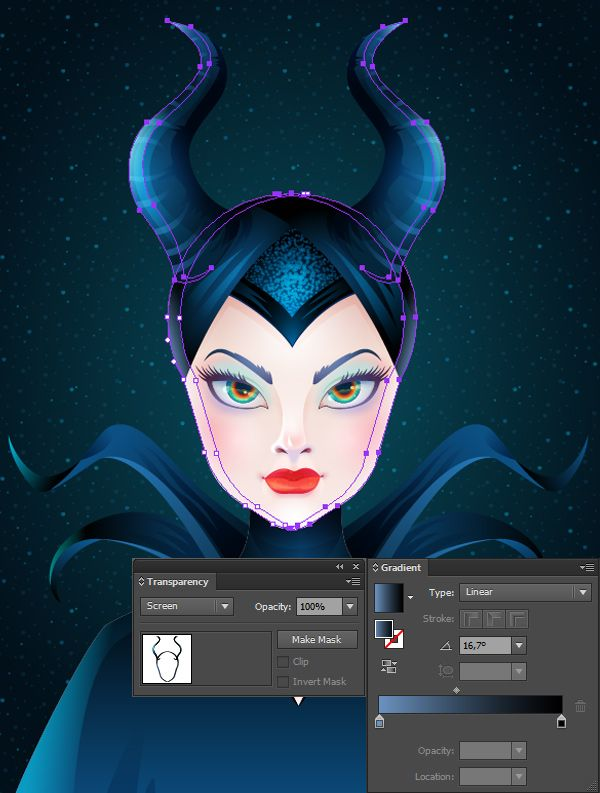 In this tutorial we will discover how to draw a bewitching stylized portrait of Maleficent in Adobe Illustrator. We'll be using various effects, such as Blur effect for soft shadows and overtones. Let the magic begin! | Difficulty: Advanced; Length: Long; Tags: Portrait, Vector, Illustration, Character Design, Adobe Illustrator, Cartoon