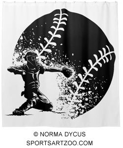 Baseball Catcher at Home Plate With a Grunge Ball Shower Curtain by SportsArtZoo #baseball #decor #gift