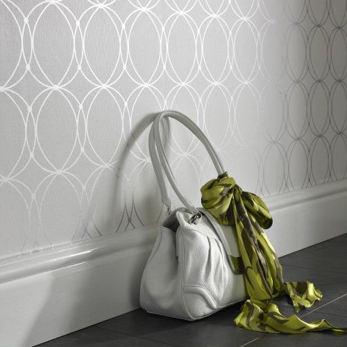 subtle metallic wallpaper- master bedroom accent wall