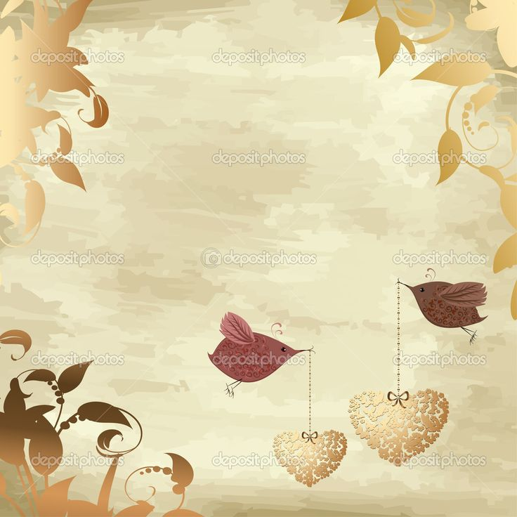 Золото Валентина с птицей — Стоковая иллюстрация #4587268