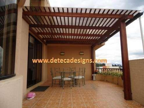 Pergolas de madera cubiertas de policarbonato decoraci n - Cubiertas para casas ...