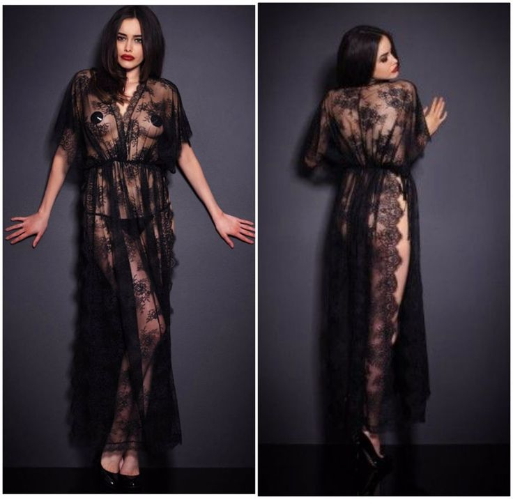 2PC Sexy New Women's Elegant Classy Lace NightGown Maxi Black Robe Lingerie Set  | eBay