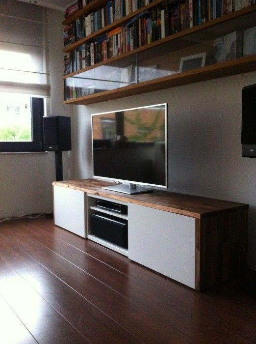 Stylish TV audio cabinet - IKEA Hackers Besta TV unit with Acacia on top. Could do with Walnut veneer or the Pax Door?