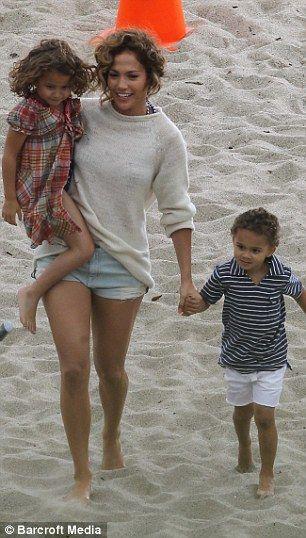Jennifer Lopez and her twins, Malibu Beach