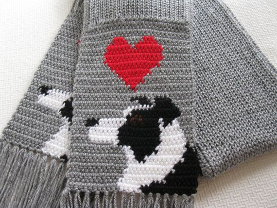 Border Collie Scarf. Grey crochet and knit scarf with by hooknsaw