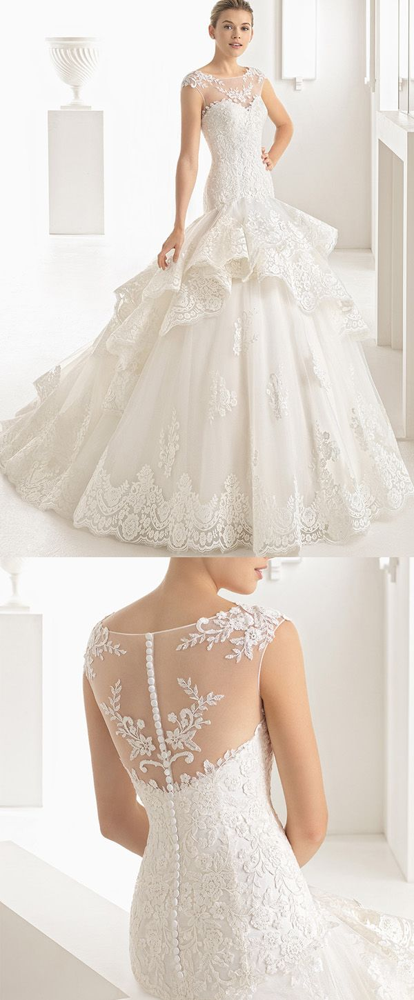 Marvelous Tulle & Organza Jewel Neckline Mermaid Wedding Dresses With Lace Appliques