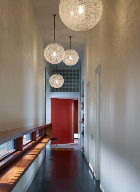 : Fabulous Modern Hall Design With Black Colored Marble Floor And Cream Colored Cover Of Modern Pendant Lighting