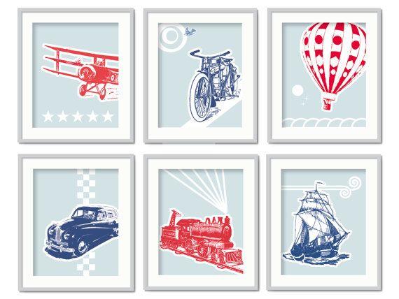 Transportation Art, Vintage Transport Prints, Children's Wall Art, Train Nursery, Airplane Decor, Hot Air Balloon Decor, Kids Playroom Art