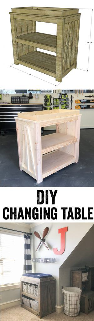 LOVE this DIY Changing Table! It would also make a great console table or coffee bar! Super easy to build... Free plans and video tutorial at www.shanty-2-chic.com