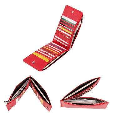 Men Women RFID Genuine Leather Long Wallet Credit Card Holder Zipper Wallet - US$28.38