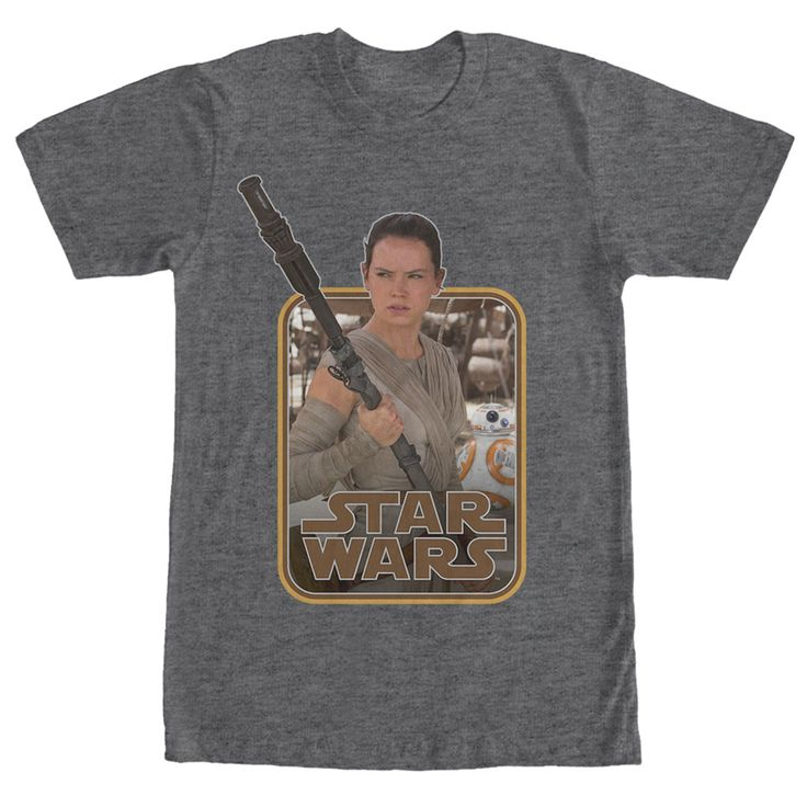 Join Rey on the planet Jakku with the Star Wars Retro Rey and BB-8 Heather Charcoal T-Shirt! Get a vintage look with this brand new Star Wars: The Force Awakens tee that features Rey and BB-8  next to the Star Wars logo.