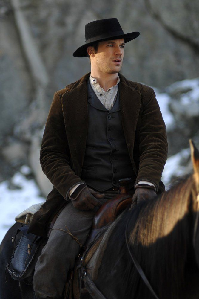 "TIMELESS -- ""The Assassination of Jesse James"" Episode 111 -- Pictured: Matt Lanter as Wyatt Logan -- (Photo by: Sergei Bachlakov/NBC)"