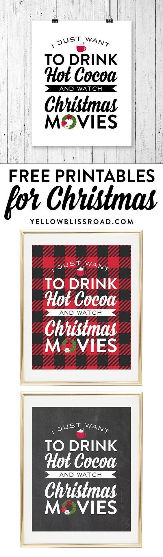 Free Printable for Christmas Movie Night! #Christmas #Movies | Holiday Family Fun